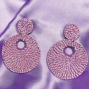 Lilac Beaded Hoop Drop Earrings